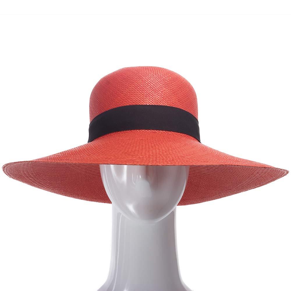 Ultrafino Francesca Wide Brim Straw Panama Sun Hat RED by Ultrafino (Image #2)