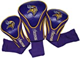 Team Golf NFL Minnesota Vikings Contour Golf Club Headcovers (3 Count), Numbered 1, 3, & X, Fits Oversized Drivers, Utility, Rescue & Fairway Clubs, Velour lined for Extra Club Protection