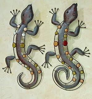 Wanddekoration Aussen gecko wanddeko aussen 65cm braun gartendeko wanddekoration garten
