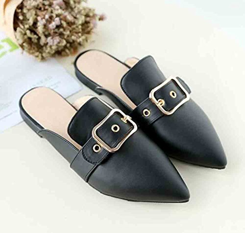 Aisun Women's Comfy Buckle Strap Pointed Toe Faux Leather Flat Slippers Black 1ERlyhyG