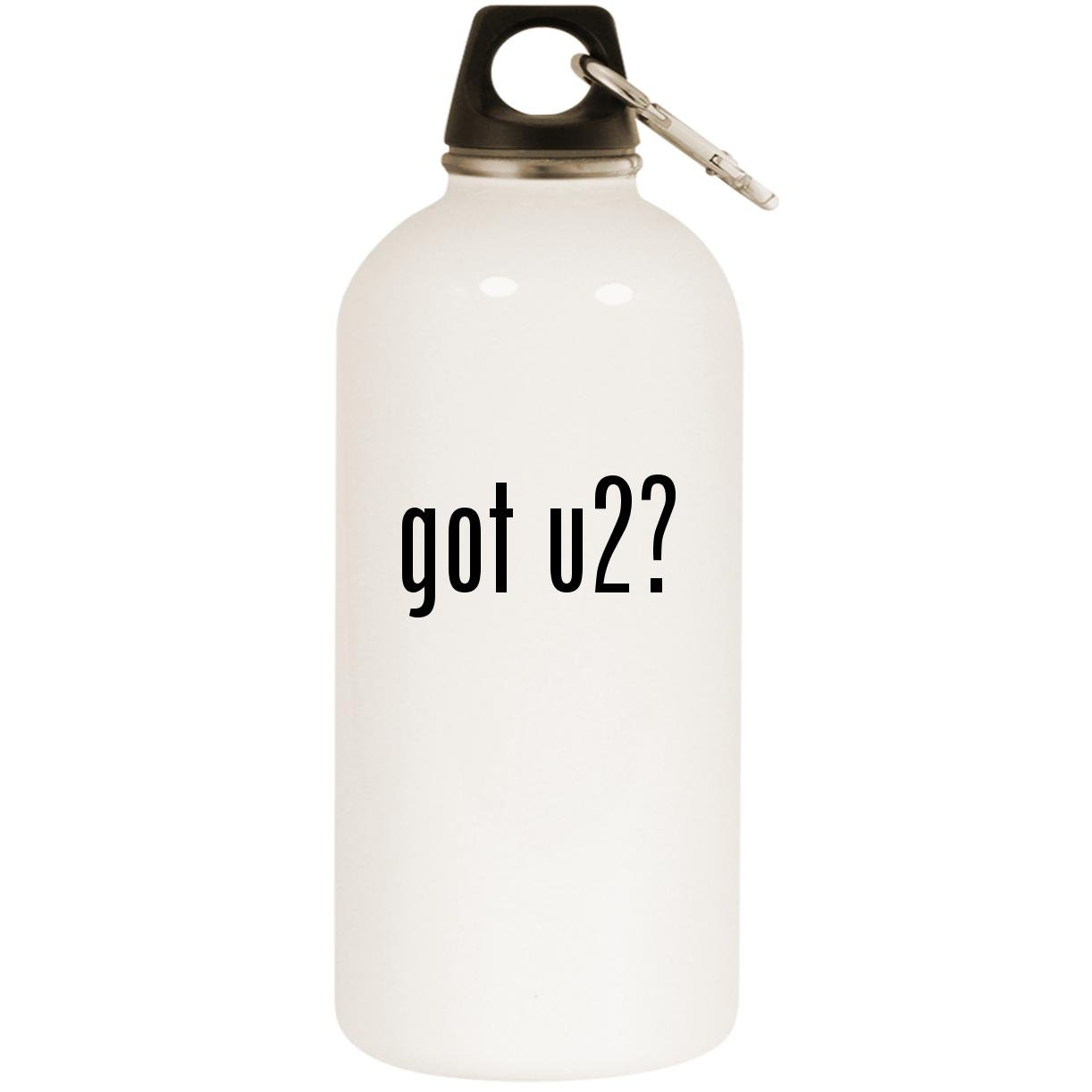 got u2? - White 20oz Stainless Steel Water Bottle with Carabiner
