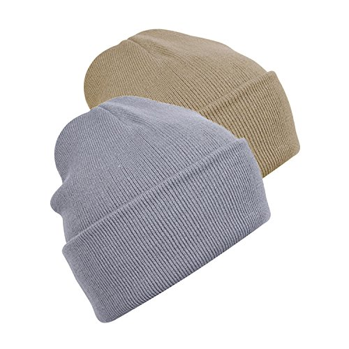 - 2 Pack Mens Adult Winter Thermal Thinsulate Knitted Beanie Hat