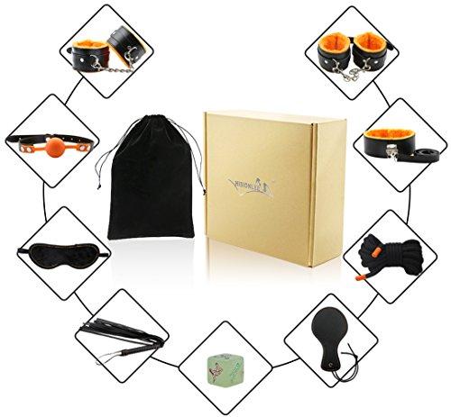 Hisionlee 10Pcs Fetisch Bondage Fesseln Bett-System Sammlung Sex Liebe, Orange
