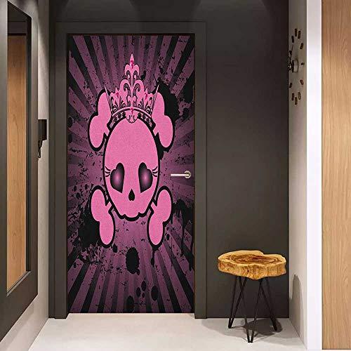 Door Sticker Skull Cute Skull Illustration with Crown Dark Grunge Style Teen Spooky Halloween Print Glass Film for Home Office W32 x H80 Pink Black