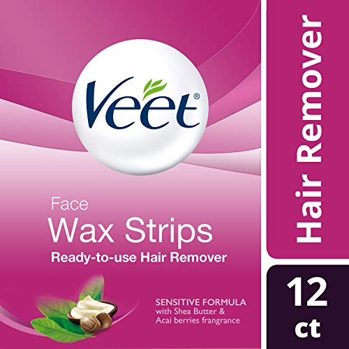 VEET Ready-To-Use-Wax-Strips Hair Remover For Face,12 ea, 3 Pack (Veet Ready To Use Wax Strips Face)