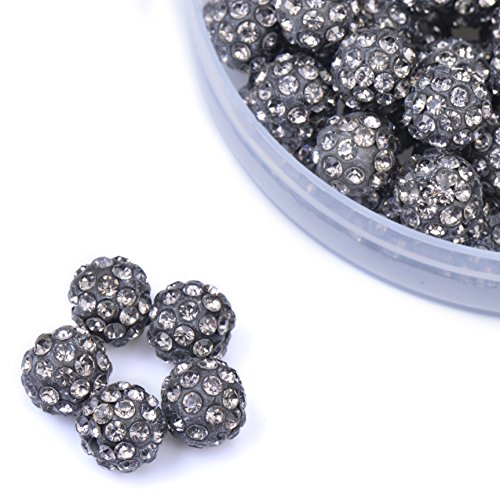 iCherry(TM) 10mm 100pcs/Lot Transparent Grey Clay Pave Disco Ball for Rhinestone Crystal Shamballa Beads Charms Jewelry (Sparkling Pave Crystal)