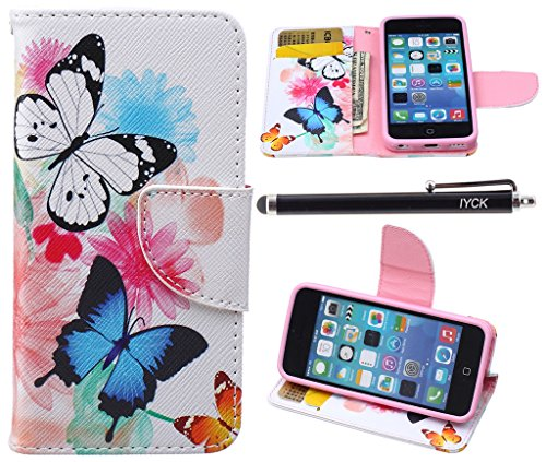 Shell Folio (iPhone 5C Case, iPhone 5C Case Wallet, iYCK Premium PU Leather Flip Folio Carrying Magnetic Closure Protective Shell Wallet Case Cover for iPhone 5C with Kickstand Stand - Butterfly Flower)