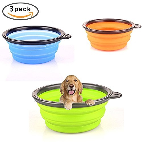 Cheap FuzzyGreen New Pop-up Silicone Pet Bowl Black Side Travel Bowl For Dogs Cats (3 Pack – Green/Blue/Orange)