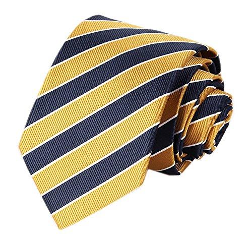 Men's Slim Yellow Navy Woven Polyester Ties Casual Party Wedding Uniform - Blazer Mens Preppy