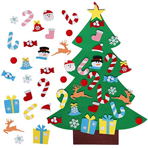 AerWo 3FT DIY Felt Christmas Tree Set with 26 Detachable Ornaments New Year Xmas Gifts for Kids Door Wall Hanging Decor