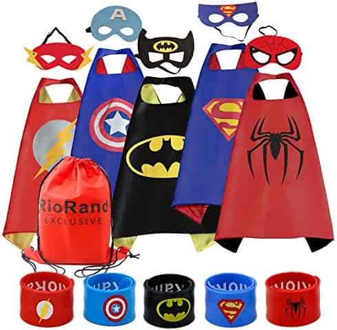 RioRand Cartoon Dress up Costumes Satin Capes with Felt Masks and Exclusive Bag for Boys