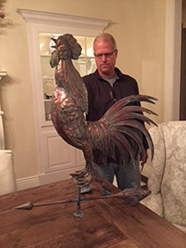 FurnitureBarnUSA LARGE Handcrafted 3 Dimensional Crowing ROOSTER Weathervane Copper Patina Finish