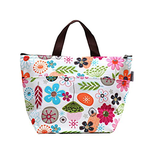 Bohonan Lunch Bags, Lunch Box Package Arricastle Oxford Cloth Aluminum Foil Insulated Zip Portable Takeaway Aluminum Film Pack Cooler Bag (Gorgeous flowers, 12.2X4.7X8.6 inches) ()