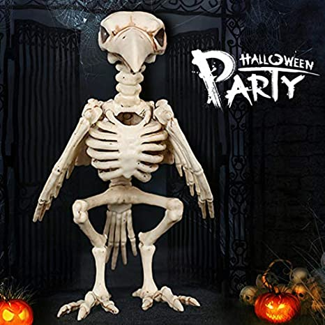 qumingchenba Skeleton Raven Plastic Animal Skeleton Bones for Horror Halloween Decoration