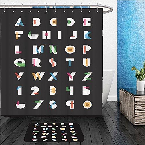 Beshowereb Bath Suit: ShowerCurtian & Doormat color alphabetic fonts and numbers vector eps illustrator - Macys Number