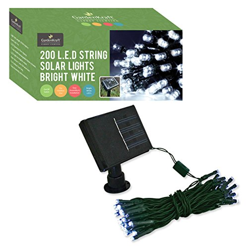 GardenKraft 25730 Solar String Lights with 200 LED - Bright White - Garden Rattan Furniture