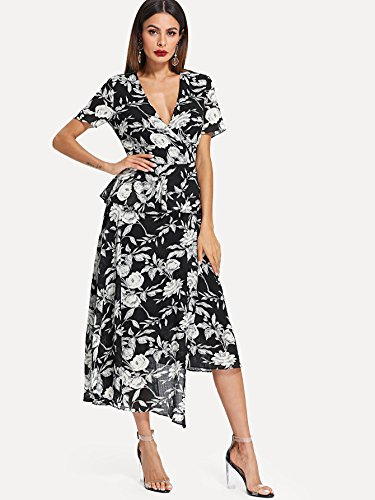 Floral Maxi V Long Split Milumia Chiffon Deep Wrap Dress and White Women's Neck Boho Black vwptwX