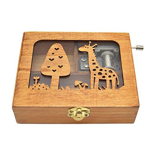 Anlydia Vintage Wooden Animal Pattern Hand Cranked Jewelry Music Box Trinket Box (Giraffe) (Trinket Box Giraffe)