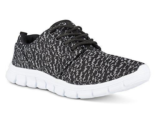 Twisted Womens Reese Athletic Knit Fashion Running Sneaker - Black/Grey, Size 6