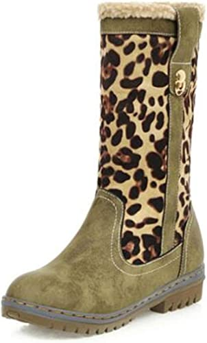 Hitmars Bottes Fourrées Femmes Boots Femme Hiver Botte Neige Pas Cher PU Cuir Bottines Chaudes Plates avec Talon 1.53in Noires Marron Vert Léopard EU