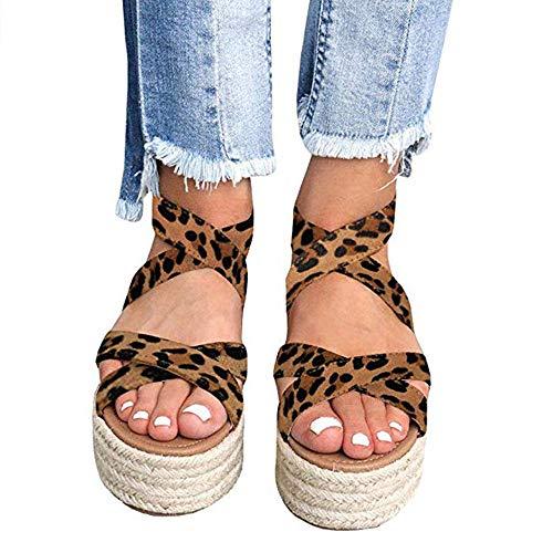 XMWEALTHY Women's Platform Wedges Heel Sandals Summer Strappy Open Toe Espadrilles Sandals Leopard US 8