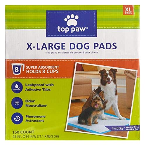 Top Paw Dog Extra Large Pads for Puppy Training, Indoor Dogs or Apartment Living, or Dogs with Incontinence, 150 Count Review