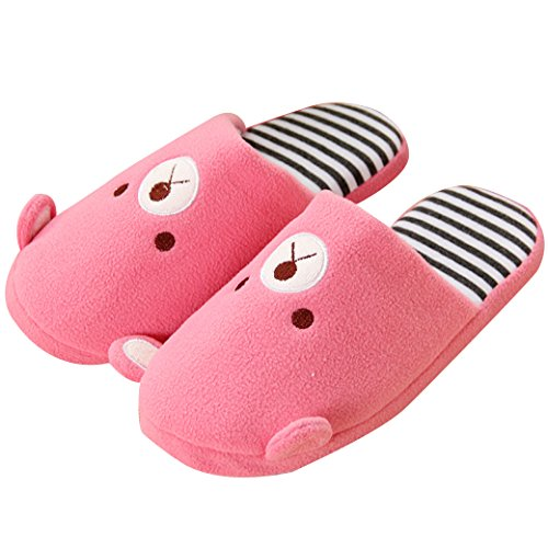 Cozy Stylish Slippers Fleece Emoji Pink Scalloped Stripe Antiskid Clog SKY EURO House Cute SxPw0Oq5O