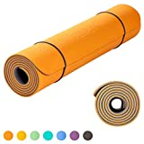 KeenFlex Yoga Mat Extremely Comfortable Non Slip Extra Long 6mm Thick SGS Certified Eco Friendly for Home Exercise Pilates Fitness Gym Workout Sport + Free Carry Strap (Orange)