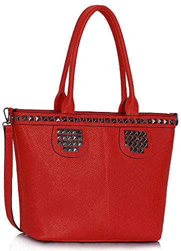 ANNA GRACE - Bolso al hombro de piel sintética para mujer Design 5 - Red