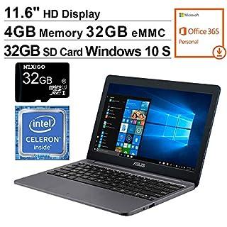 2020 ASUS VivoBook 11.6 Inch Laptop, Intel Celeron N4000 up to 2.6 GHz, 4GB RAM, 32GB eMMC, WiFi, Win10 S (1 Year Office 365 Personal Included) + NexiGo 32GB MicroSD Card Bundle