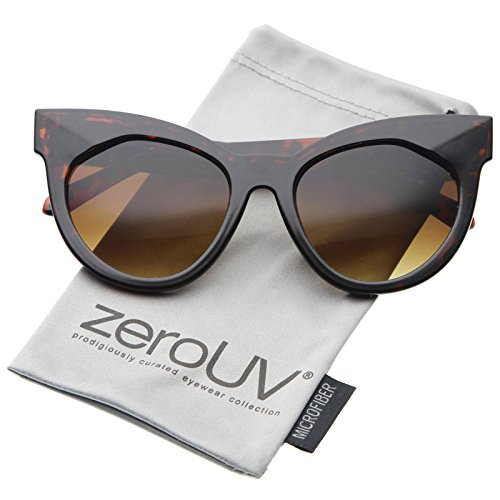 Shiny Glass Amber Tortoise (Womens Mod Fashion Oversized Flat Lens Bold Chunky Cat Eye Sunglasses 64mm (Shiny Tortoise-Gold/Amber))