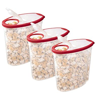 Rubbermaid 1.5 gallon Cereal/Snack Storage Container (3 Pack), Red