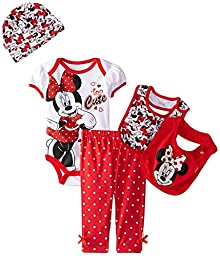 Disney Baby Girls\' Minnie Mouse 5 Piece Set Too Cute, Red, 0-6 Months