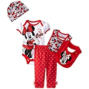 Disney Baby Girls' Minnie Mouse 5 Piece Set Too Cute, Red, 0-6 Months