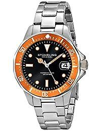 Stuhrling Original Men's 664.04 Aqua Diver Analog Display Japanese Quartz Date Silver Watch
