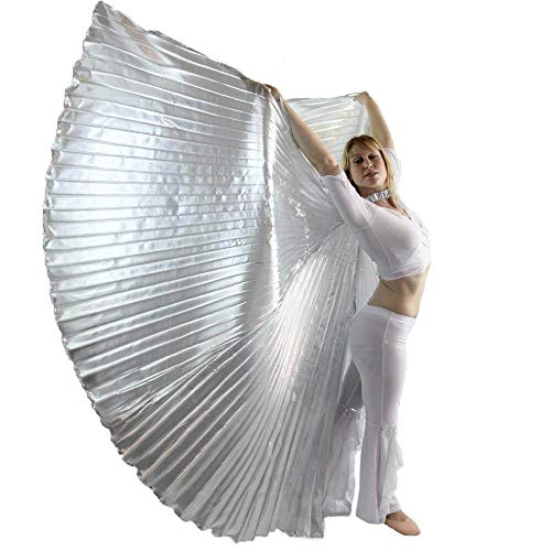 Danzcue 360 Degree Worship Isis Wings, Solid Silver, M-L-Adult -