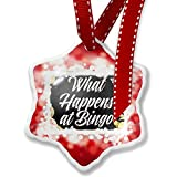 Christmas Ornament Floral Border What Happens at Bingo, red - Neonblond