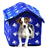 Woof Kingdom Washable Pet House - Soft Cusion with Durable Design - Blue