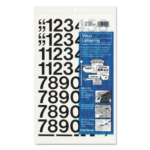 Symbol Vinyl Stickers - Chartpak Self-Adhesive Vinyl Numbers, 1 Inches High, Black, 44 per Pack (01130)