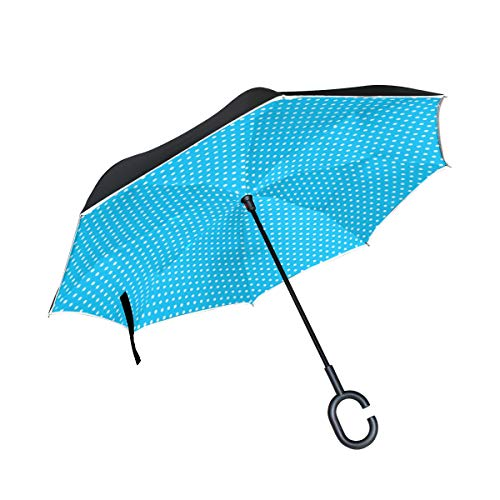 RYUIFI Double Layer Inverted Blue Polka Dot Texture Pattern Origami Dot Dots Umbrellas Reverse Folding Umbrella Windproof Uv Protection Big Straight Umbrella for Car Rain Outdoor with C-Shaped Handle