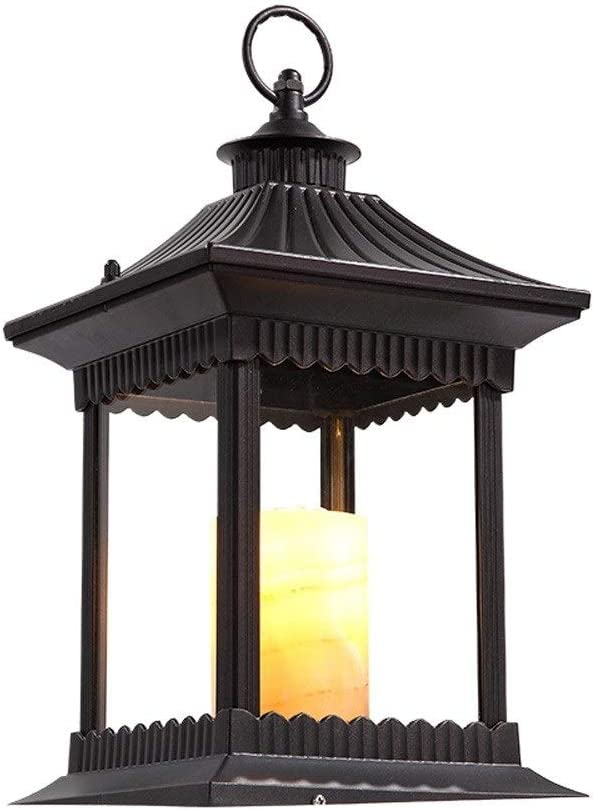HEJY Europea jardín de Estilo Lámpara de huracán Linterna de la Vela Imitación Antigua Pilar de mármol Pon Luces a Prueba de Agua IP55 Columna césped del jardín lámpara de Mesa Tradicional