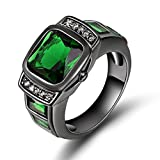 Huanhuan Fashion Men's Gift Green Emerald Cut CZ Black Gold Plated Wedding Ring Size 7 to 11