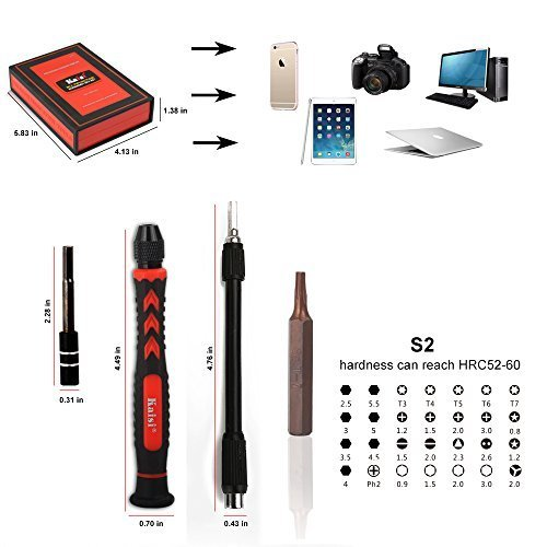 Kaisi 3801-S2 Precision Alloy Tool Steel Magnetic Screwdriver set, Repair Kit for iPhone, Samsung Galaxy, Cell Phone, Tablets, Computers, Electronic Devices Etc Tool Set 38-Piece
