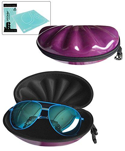 JAVOedge Purple Shiny Hard Clamshell Eyeglass Case with Lined Interior, Carabiner and Bonus Mircofiber Cleaning Cloth