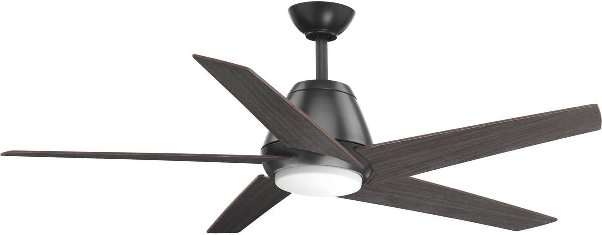 Progress Lighting P2582-14330K Protruding Mount, 5 Walnut Blades Ceiling fan with 18 watts light, Graphite