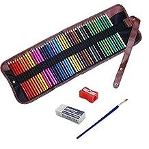 NIUTOP 48 Colors Watercolour Pencils Set with Pencil Holder Sharpener Eraser and Blending Brush Artist Grade High Quality