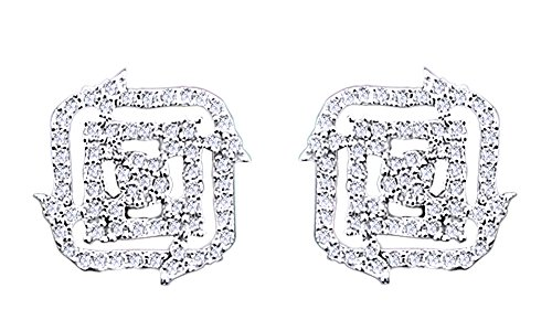 14K Solid White Gold Round Cut Diamond Hip Hop Cluster Stud Earrings (0.54 Cttw) by wishrocks