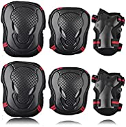 LEOAK Kids Adult Knee Pads Elbow Pads Wrist Guards 6 in 1 Protective Gear Bicycles Skateboards Skating and Mul