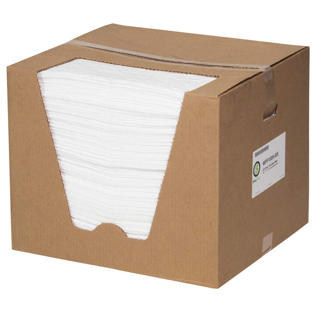 "WPF100H 19/"" x 15/"" Pack of 100 Heavyweight Polypropylene L x W White SpillTech Oil-Only Commander Absorbent Mat Pad"