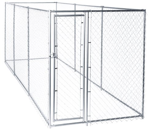 Chain Link Dog Kennel - Lucky Dog Outdoor Heavy Duty Pet Kennel - This Pet Cage System is Perfect For Containing Larger Dogs and Small Animals. Galvanized chain link doesn't kink or tangle. Two setup options (5'W x 15'L x 6'H or 10'W x 10'L x 6'H) ()